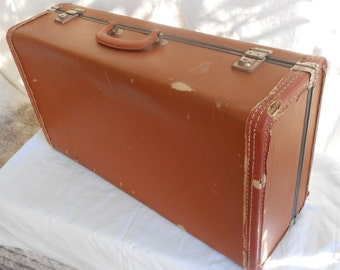 Butterscotch Cardboard Lightweight Vintage Suitcase Antique Luggage Travel