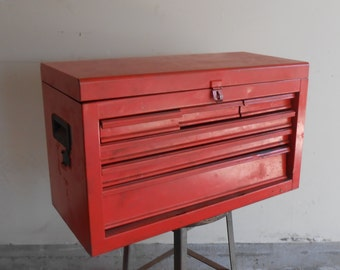 Vintage Tool Box Industrial Red Metal Storage Mechanics Chest Many Drawers Compartments