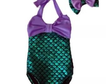 Pre-Order ~ Mermaid Swimsuit & Headband Summer Swimwear ~ Under the Sea