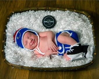 BABY BOY HOCKEY Royal Blue Red Hockey, Baby Hockey Outfit, Crochet Hockey Baby, Baby Knit Hockey Hat, Knit Baby Skates, Newborn Hockey Gift