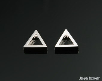 Triangle Outline Charm in Rhodium / 8.0mm x 7.0mm / BS296-P (2pcs)
