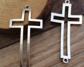 10pieces 46*28MM Hollow  Cross  Charm  -  antique Silver  charm pendant  Jewelry Findings