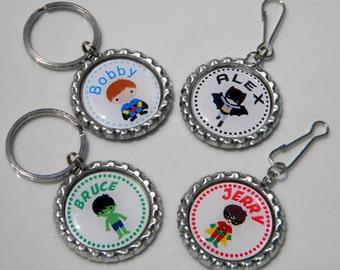 Superhero Party Favors Custom Key Chains / Custom Zipper Pulls