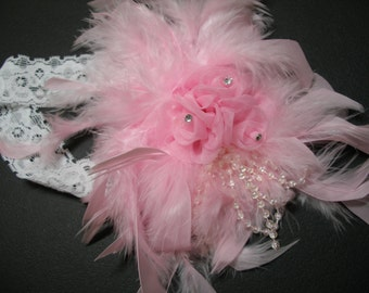 Couture BABY Photo Prop PINK Boa HEADBAND Shabby Chic Portrait Baby Shower Gift Girl 2 Toddler Boutique Handmade