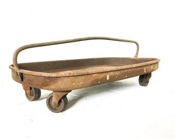Vintage Metal Tool Caddy with Casters Steel Parts Bin Rolling Storage Centerpiece