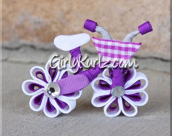 Purple Bicycle Hair Bow, Bicycle Hair Clip, Ribbon Sculpture, Bike Bow, Bike Clip, Hair Accessories