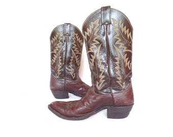 Vintage Justin Cowboy Boots,Women's Western Boots, Brown leather cowboy boots, Cowgirl boots, Size 8.5