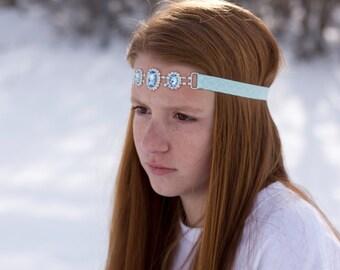Baby Blue Oval Rhinestone Headband, Wedding, Prom, Flower Girl, Bridal, Blue, Girls, Elastic Headband, Babies, Adults, Teen,Glam, Elastic