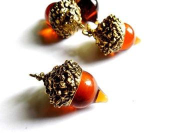 1 Antique Gold Acorn Pendant/Charm - 23-17