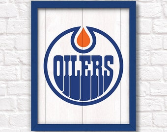 EDMONTON OILERS - rustic handmade sign - Edmonton Oilers fan wall sign - Fathers Day gift for Dad