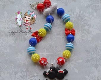 Disney Cruise Necklace Sailor Mickey necklace Anchor Away Necklace Sailor Mickey and Minnie Necklace Minnie Mouse chunky necklace