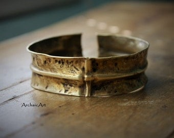 Brass Fold Formed Cuff Bracelet Hand Hammered Battered Rustic Boho Chic Gypsy Nomad Artifact