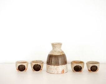 5 Piece Speckled Sake Set