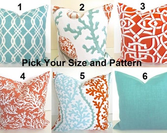 CORAL PILLOWS Coral Outdoor Throw Pillow Covers Orange Coral Aqua Mint Green Indoor Outdoor  Pillow Covers  12x18 16x20 Lumbar .All Sizes