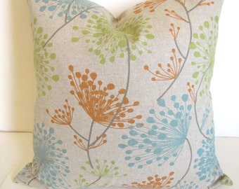 PILLOWS Blue Decorative Throw Pillows Orange Throw Pillow Covers 16 18 20x20 All Sizes Citron Green Pillow Covers Grey Floral Decor