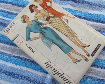 Pencil Dress Size 12 Sewing Pattern - Vintage Simplicity 2153