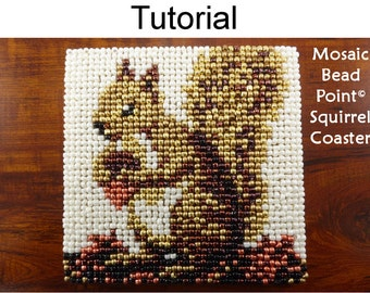 Beading Tutorial Pattern - Beaded Squirrel Coaster - Mosaic Beadpoint Home Decor - Simple Bead Patterns - Autumn Squirrel Coaster #20184