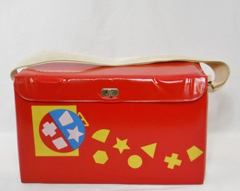 Vintage 80s Tupperware Tuppertoys portable red toy box toy case storage container