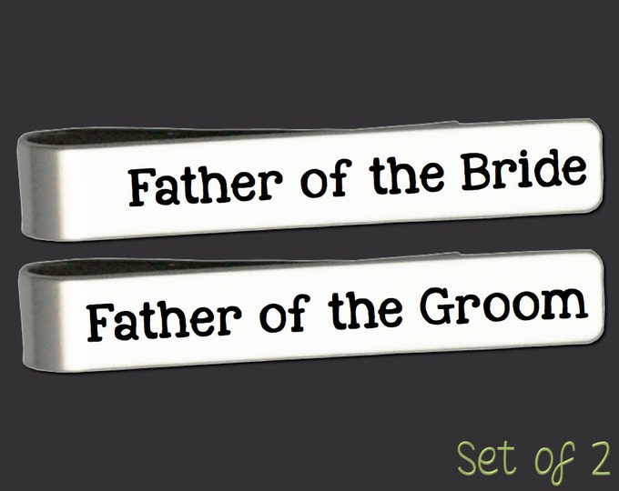 Father of the Bride Gift | Father of the Groom Gift | Wedding Gifts | Custom Personalized Tie Bar Set Korena Loves