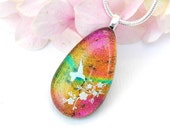 Hummingbird Glass Pendant - Fused Glass Jewelry - Dichroic Glass Droplet Necklace