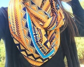 Tribal Aztec Print Scarf, Hipster Scarf, Infinite Scarf, Cowl Scarf, Bohemian Scarf, Holiday Gifts, Knit Scarves