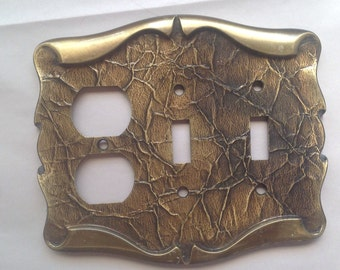 Vintage Electrical Outlet Switch Combo Cover 70s Decorative Switch Plate outlet Cover Amerock