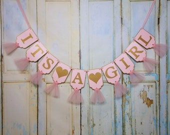Extra Large It's A Girl Banner with Hearts, Pink and Gold Banner with Tulle, Girl Baby Shower Decoration, Pink and Gold Baby Shower Banner