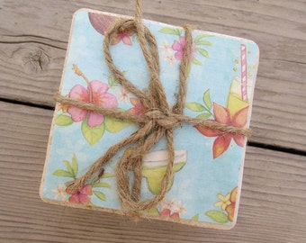 Tropical Drink/Flower Coaster Set Of Four Beach Home Decor Coastal Beach Design