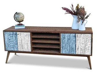 Flash Sale! Eco Recycled Solid Timber Modern Mid Century Retro Rustic Wooden TV Stand Entertainment Unit With Shelves in Pastel Blue & White