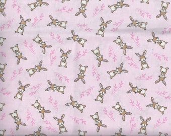 Starry Night Forest Bunnies fabric - pink with brown rabbits - Timeless Treasures - by the continuous YARD