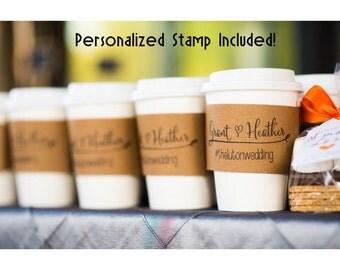150 Custom Coffee Sleeves with CUSTOM STAMP