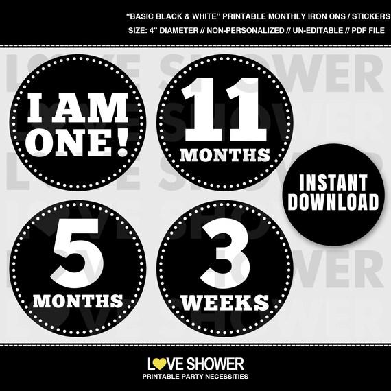 Basic black white printable monthly stickers or iron on transfers il570xn solutioingenieria Choice Image