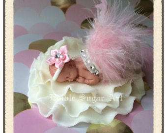 BABY SHOWER CAKE Topper Baby Fondant Pink Feather Tutu Topper Fondant Baby  Tutu Cake Topper Fondant