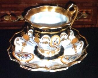 Antique 19th c European cup & saucer cobalt gilded scrolls hand painted birds