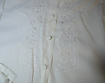 Vintage White Blouse with Embroidery by Jantzen Petites