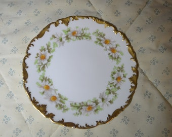 ON SALE  Lovely Plate by Limoge of France with Daisies and Gold Trim