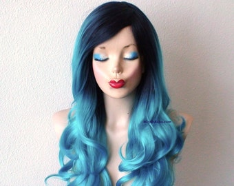 Dark roots Pastel Teal blue wig.  Long curly hair long side bangs wig. Durable quality Heat resistant wig for daily use or Cosplay.