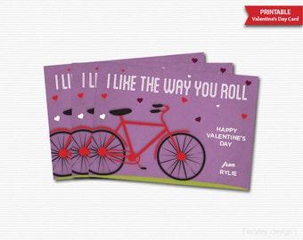 Bike Valentines Card Bike Classroom Cards Bike Valentine Printable Kids Valentines Card Personalized Digital Bicycle I Like The Way You Roll