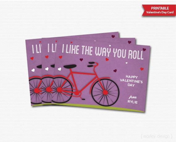 Bike Valentines Card Bike Classroom Cards Bike Valentine – Valentines Cards Personalized