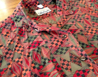 FAB 50's Incredible Edgy Retro BOBBIE BROOKS Classic Shirt/Blouse / Fab Atomic Eames Era Print