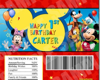 Printable Mickey Mouse Clubhouse Birthday Candy Bar Wrapper