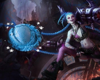 Jinx - Pop Baby Blue with Pink Shimmer Eyeshadow - League of Legends Inspired - Gothic Pastel Goth