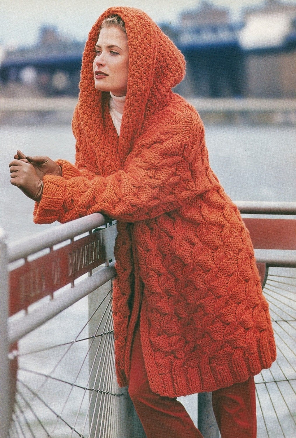 Knitting Pattern For Ladies Hood : Knitting Pattern Ladies Hooded Cable Coat PDF Instant Download