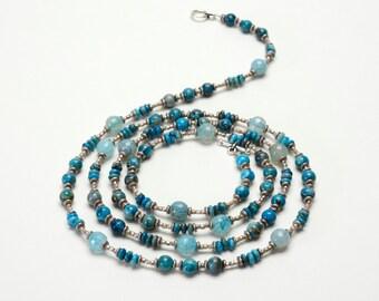 "Ocean Blue Stone Long Necklace - Blue Beaded Necklace - 40"" Long or 20"" Double Wrapped Gemstone Necklace"