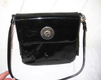 Black patent leather handbag, bags and purses, shoulder bag, crown Lewis bag purse