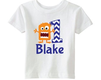 Monster Birthday Shirt - Boys Birthday Monster Shirt - Boys Monster Shirt - Personalize with Name and Age