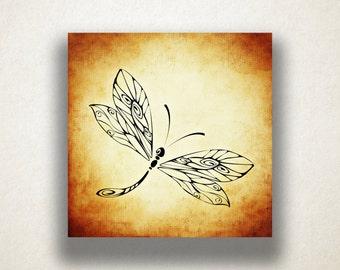 Dragonfly Canvas Art Print, Dragonfly Wall Art, Insect Canvas Print, Artistic Wall Art, Canvas Art, Canvas Print, Home Art, Wall Art