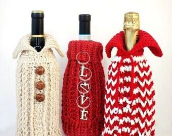 Crochet Pattern, Bottle Bag, Gift Bag, Bottle Sweater, Christmas Bag PDF15- 200
