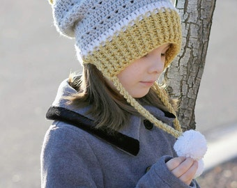 Crochet Pattern Hat Ear Flap Beanie Gracie PDF 16-219 INSTANT DOWNLOAD