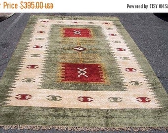 SUMMER CLEARANCE 1990s Vintage Chenille Flatweave Rug (3155)